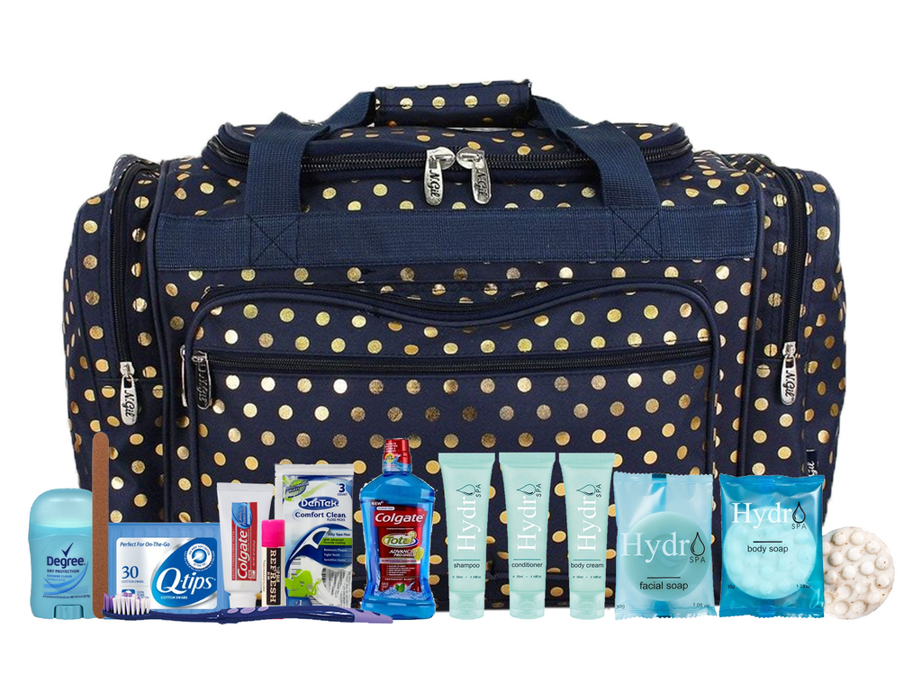 a0d98a2b89 Maternity Hospital Labor Duffle Bag, Pre-packed Toiletry Bag - Polka Dots  Gold Navy