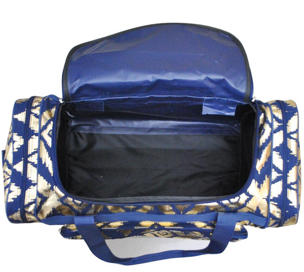 "Maternity Hospital Labor Duffle Bag, Pre-packed Toiletry Bag - 23"" Ikat Gold Navy"