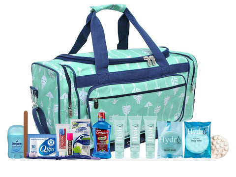 Bag - Maternity Hospital Labor Duffle Bag, Pre-packed Toiletry Bag - Arrow Mint Navy