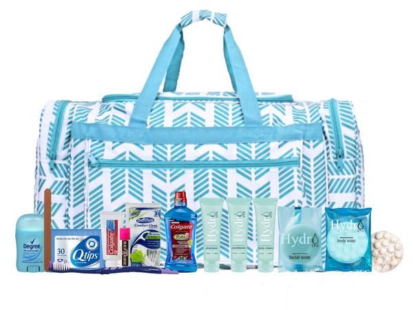 Bag - Maternity Hospital Labor Duffle Bag, Pre-packed Toiletry Bag - Arrow Turquoise Duffle