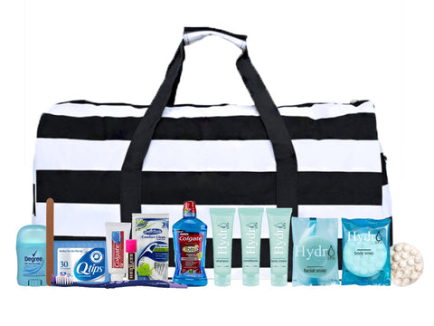 MOMMIES2BE Maternity Hospital Labor Duffle Bag, Pre-packed Toiletry Bag - Nautical Stripe Black/White