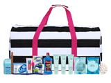 Bag - Maternity Hospital Labor Duffle Bag, Pre-packed Toiletry Bag - Nautical Stripe Black/White/Pink