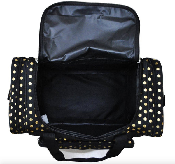 Bag - Maternity Hospital Labor Duffle Bag, Pre-packed Toiletry Bag - Polka Dots Gold Black