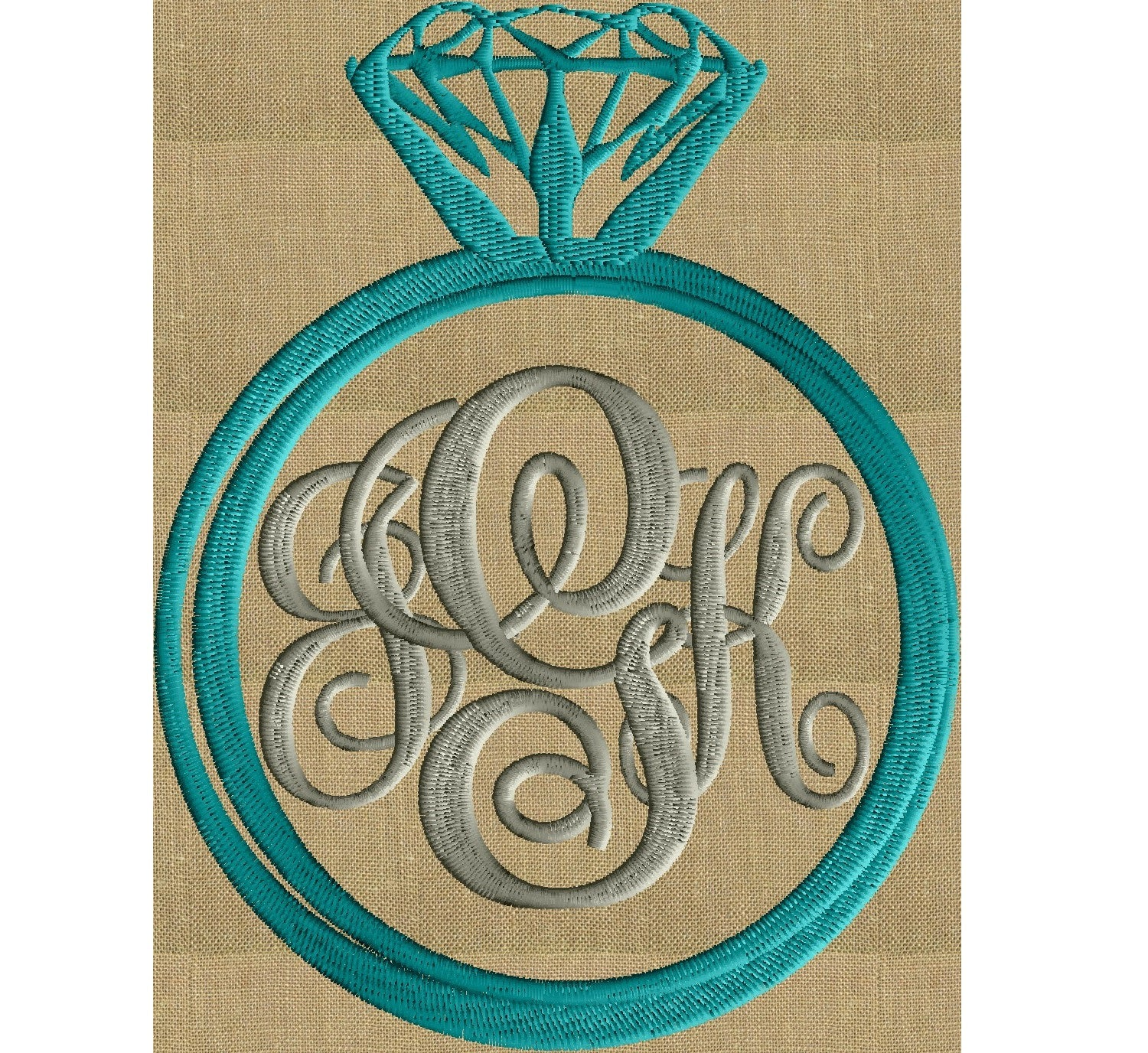 Engagement Ring Font Frame Monogram Embroidery Design - Font not included - LARGER FRAMES ONLY - Instant download - Dst Exp Vp3 Jef Pes