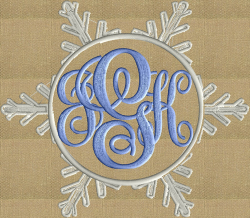 Snowflake Font Frame Monogram Embroidery Design File
