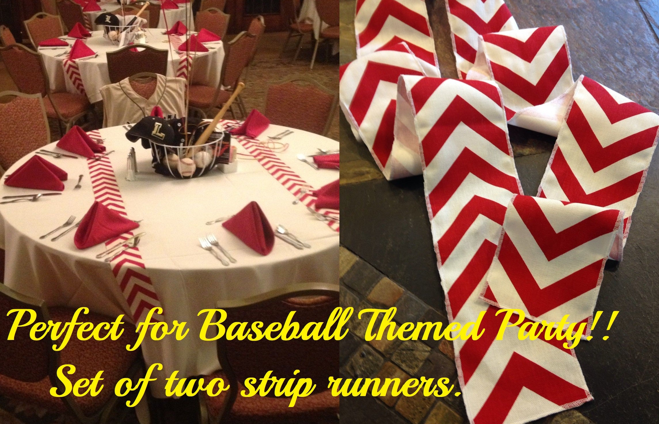 ORIGINAL Baseball Ribbon Party Themed Red Chevron Modern Wedding Table Runner set of 2 by your choice of length Chevron runner w/ FREE SHIPPING!