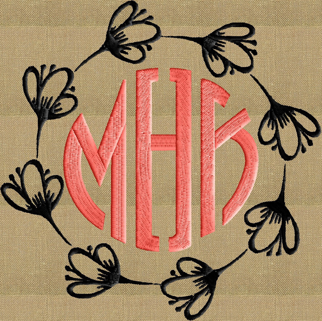Crocus Font Frame Monogram Design -Font not included - EMBROIDERY DESIGN FILE - Instant download - Hus Dst Exp Jef Pes formats