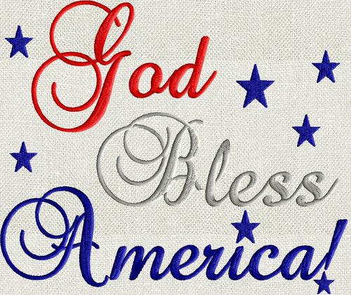 "Patriotic quote ""God Bless America"" Memorial Day 4th of July Embroidery DESIGN FILE Instant download"