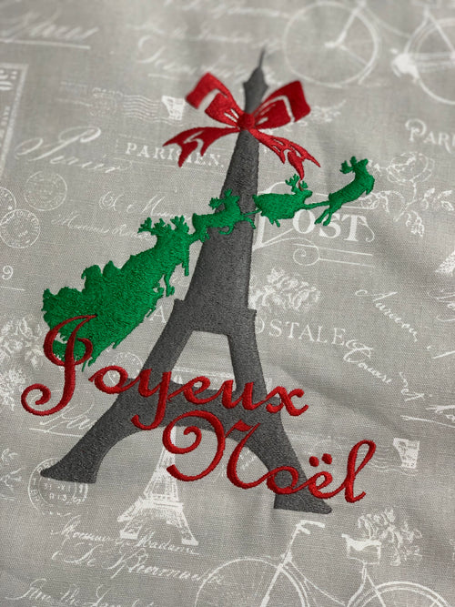 Eiffel Tower Santa Joyeux Noel Christmas quote EMBROIDERY DESIGN FILE - Instant download - Dst Hus Jef Pes formats