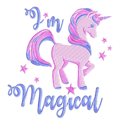"Pretty Unicorn quote ""I'm Magical""  - EMBROIDERY DESIGN file"