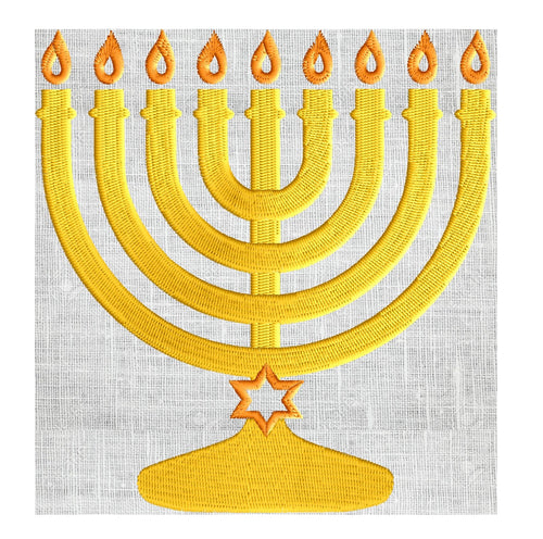 Menorah w Star of David EMBROIDERY DESIGN FILE Instant download 5x7 & 4x4 hoops Exp Xp3 Dst Hus Jef Pes - Hannukah Jewish Festival of Lights
