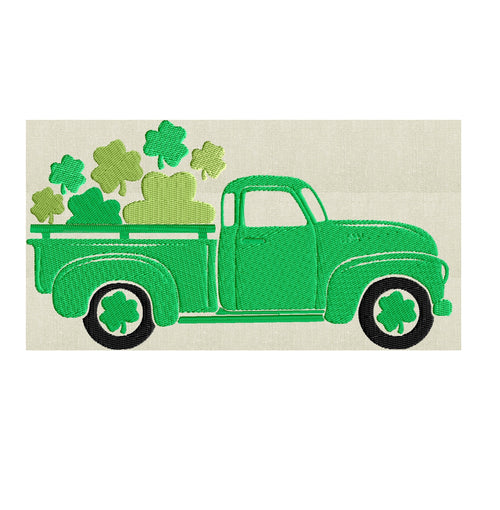 St Patrick's Day Retro Pickup truck Shamrocks - EMBROIDERY DESIGN file - Instant download - Hus Exp Jef Vp3 Pes Dst 2 sizes 3 colors