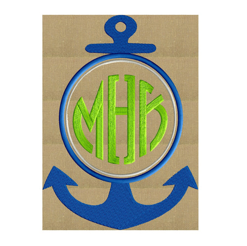Anchor Font Frame Monogram Design - EMBROIDERY DESIGN FILE