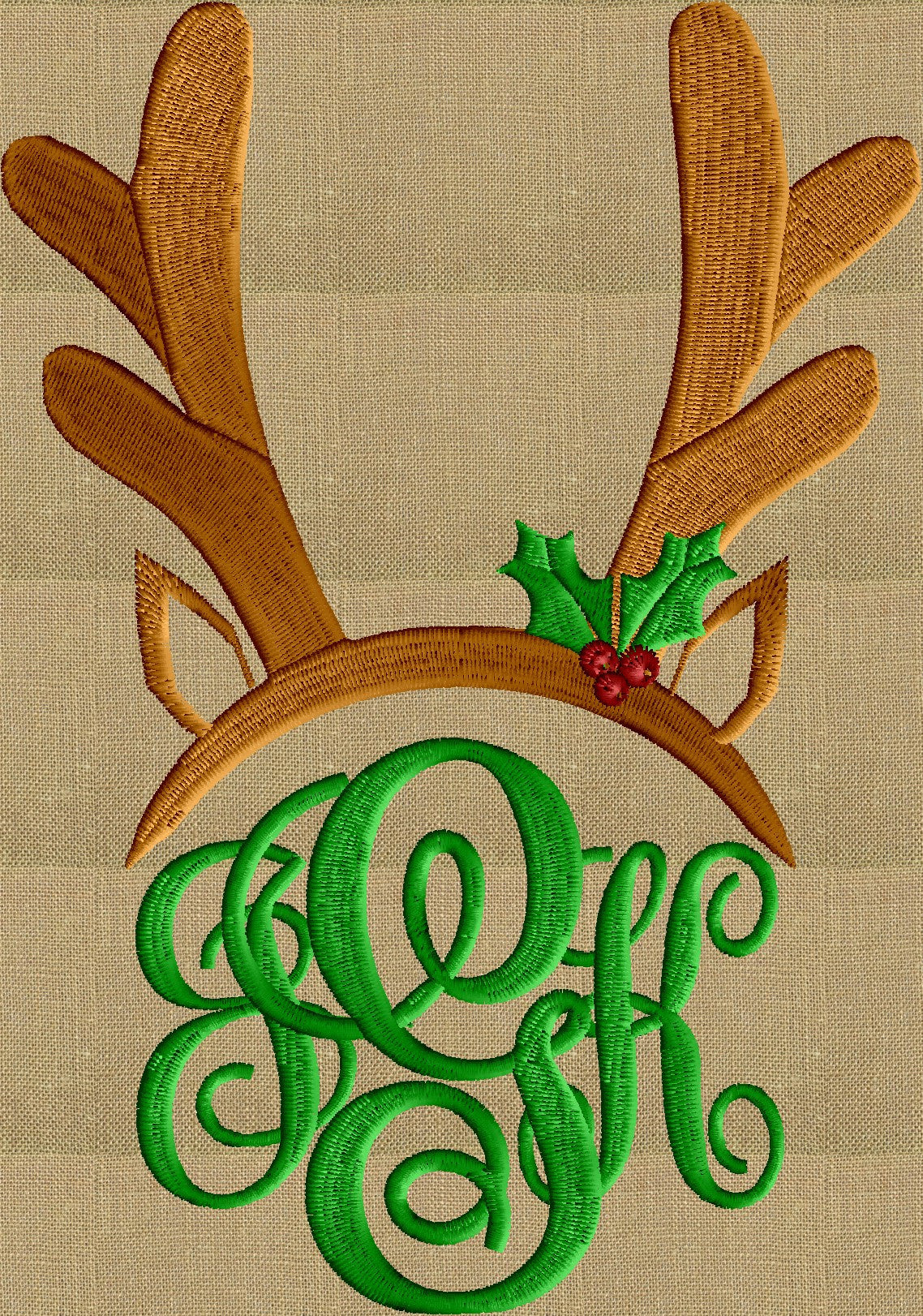 Christmas Reindeer Antlers Font Frame Monogram -Font not included - EMBROIDERY DESIGN - Instant download - Hus Vp3 Dst Exp Jef Pes formats