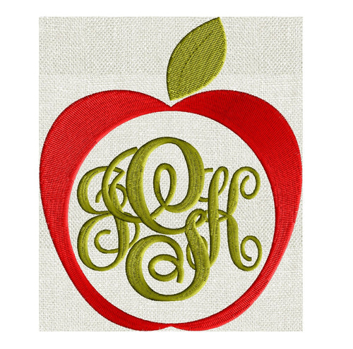 Apple Frame Design - Fruit - EMBROIDERY DESIGN FILE - Instant download