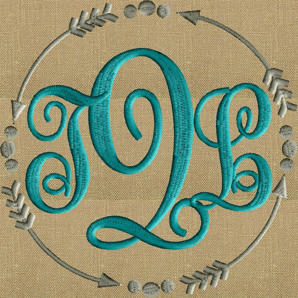 Arrows and dots Frame Monogram -Font not included - EMBROIDERY DESIGN - Instant download