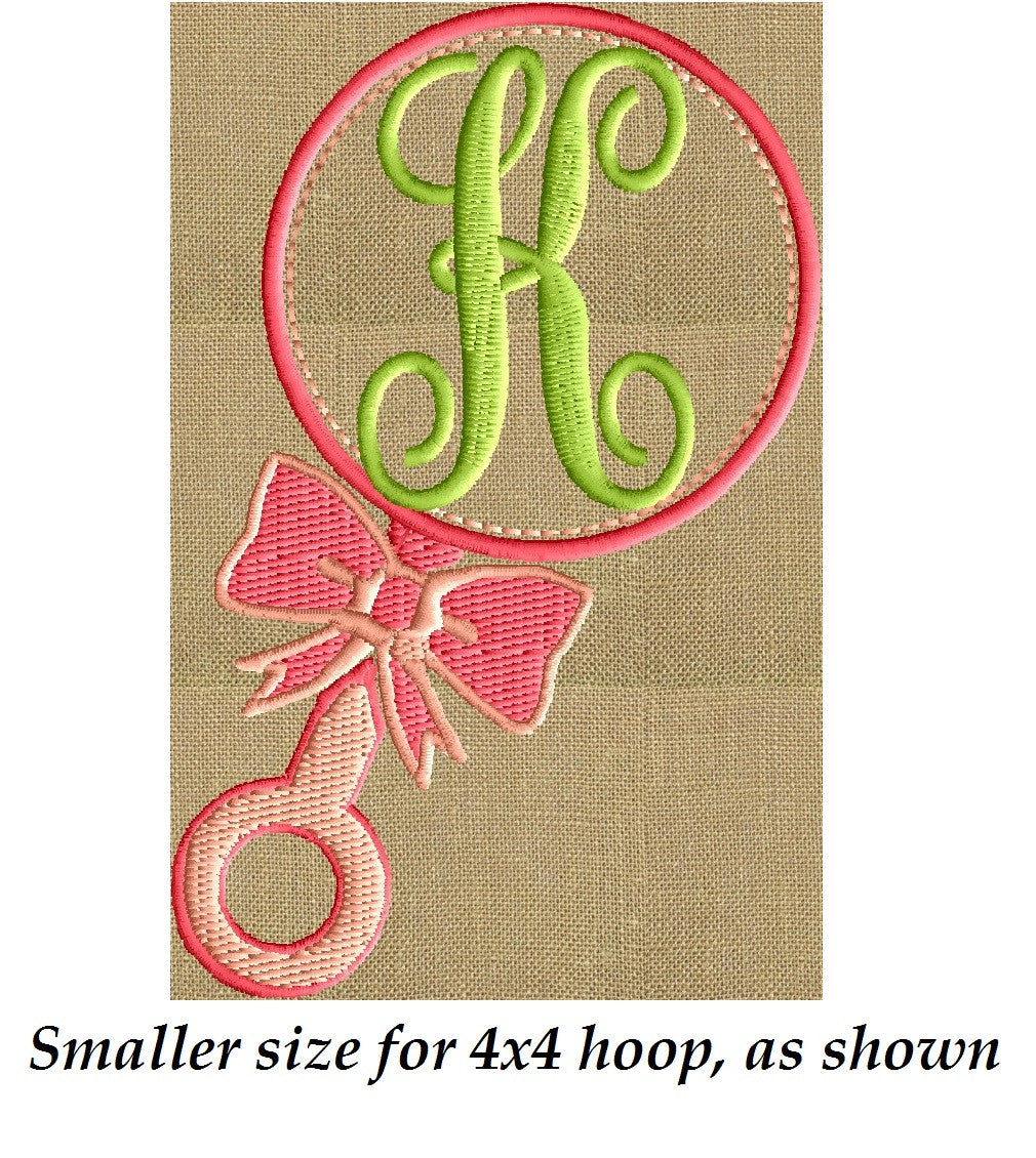 Baby's Rattle Font Frame Monogram Embroidery Design - Font not included