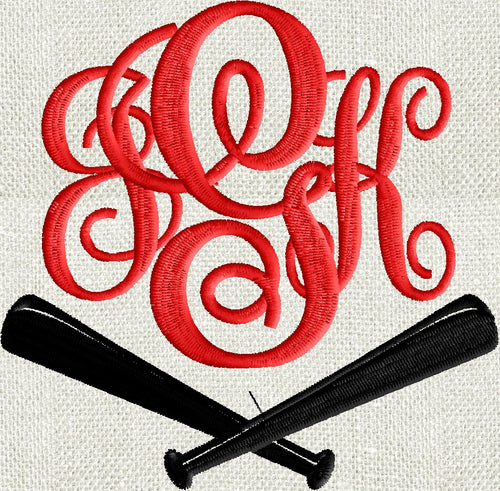 Baseball Bats Font Frame Monogram Design -Font not included - EMBROIDERY DESIGN FILE