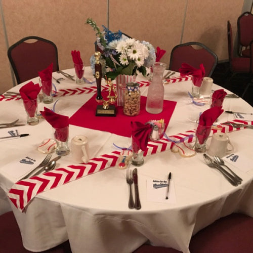 Our ORIGINAL Baseball Ribbon Party Themed Red Chevron Modern Wedding Table Runner set of 2 by your choice of length Chevron runner w/ FREE SHIPPING!