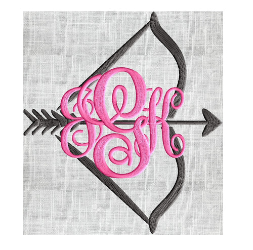 Bow and Arrow Font Frame Monogram Design -Font not included - EMBROIDERY DESIGN FILE - Instant download - Hus Dst Exp Jef Pes Vp3 formats INSTANT DOWNLOAD