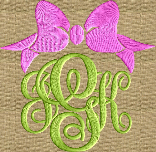 Bow Font Frame Monogram Embroidery Design - Font not included - Instant download