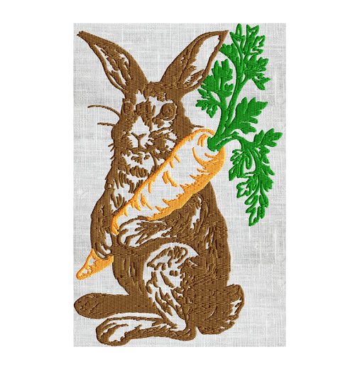 Bunny with Carrot - Easter - Embroidery Design Embroidery DESIGN FILE Instant download 2 sizes and 3 colors - Hus Dst Jef Pes Exp Vp3