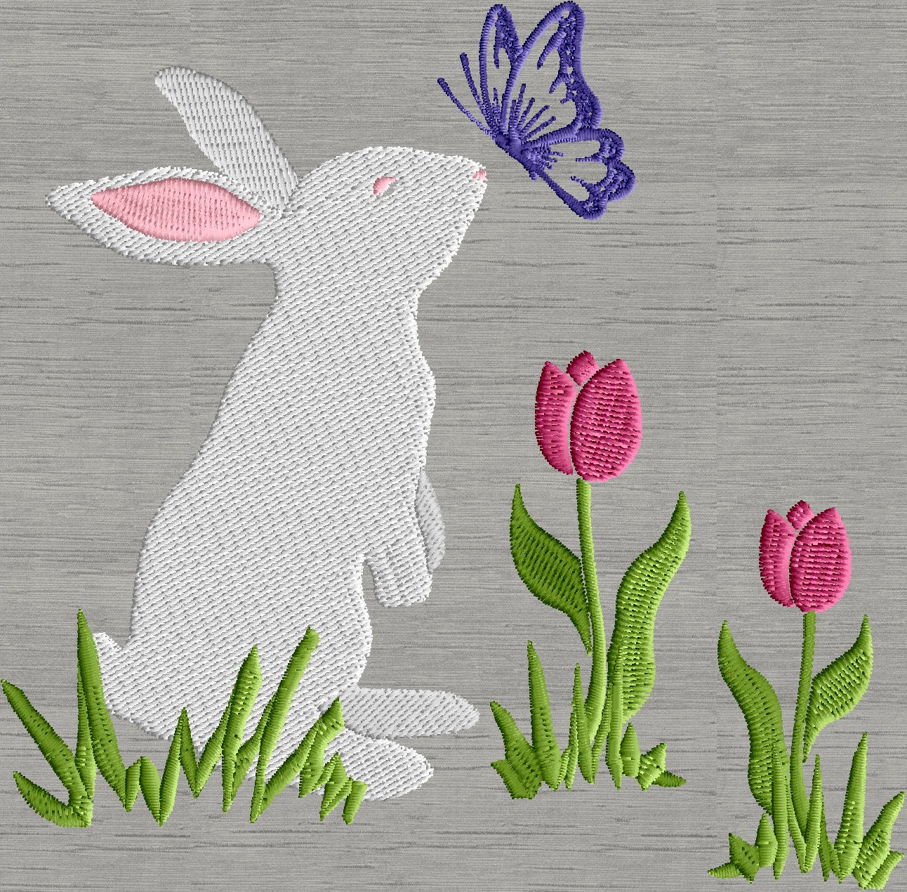 Bunny with Butterfly in tulips - Easter - Embroidery DESIGN FILE ...
