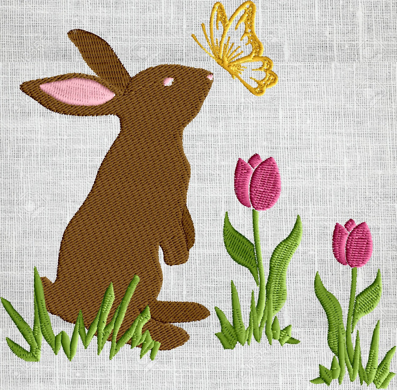 Bunny with Butterfly in tulips - Easter - Embroidery DESIGN FILE Instant download - 2 sizes 5 colors Hus Dst Jef Pes Exp Vp3 formats