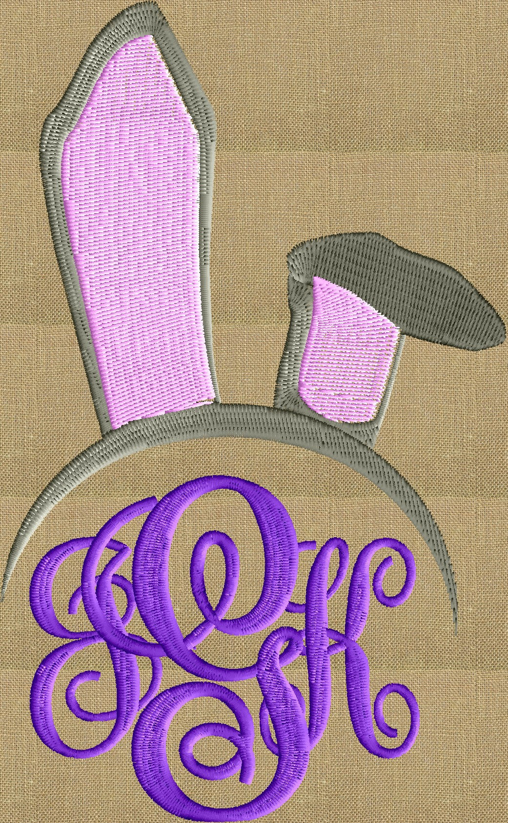 Bunny Ears Font Frame Monogram Design -Font not included - EMBROIDERY DESIGN FILE