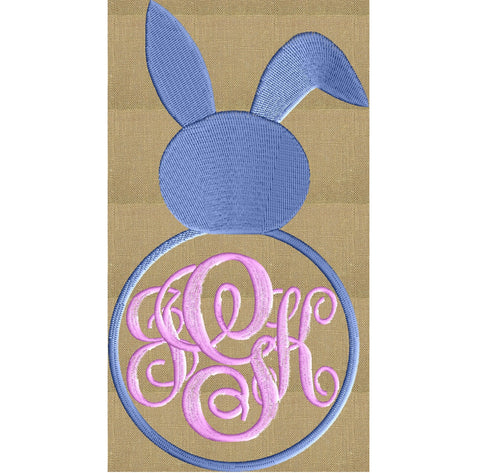 Bunny Rabbit Font Frame Monogram Design - Easter -Font not included- EMBROIDERY DESIGN FILE