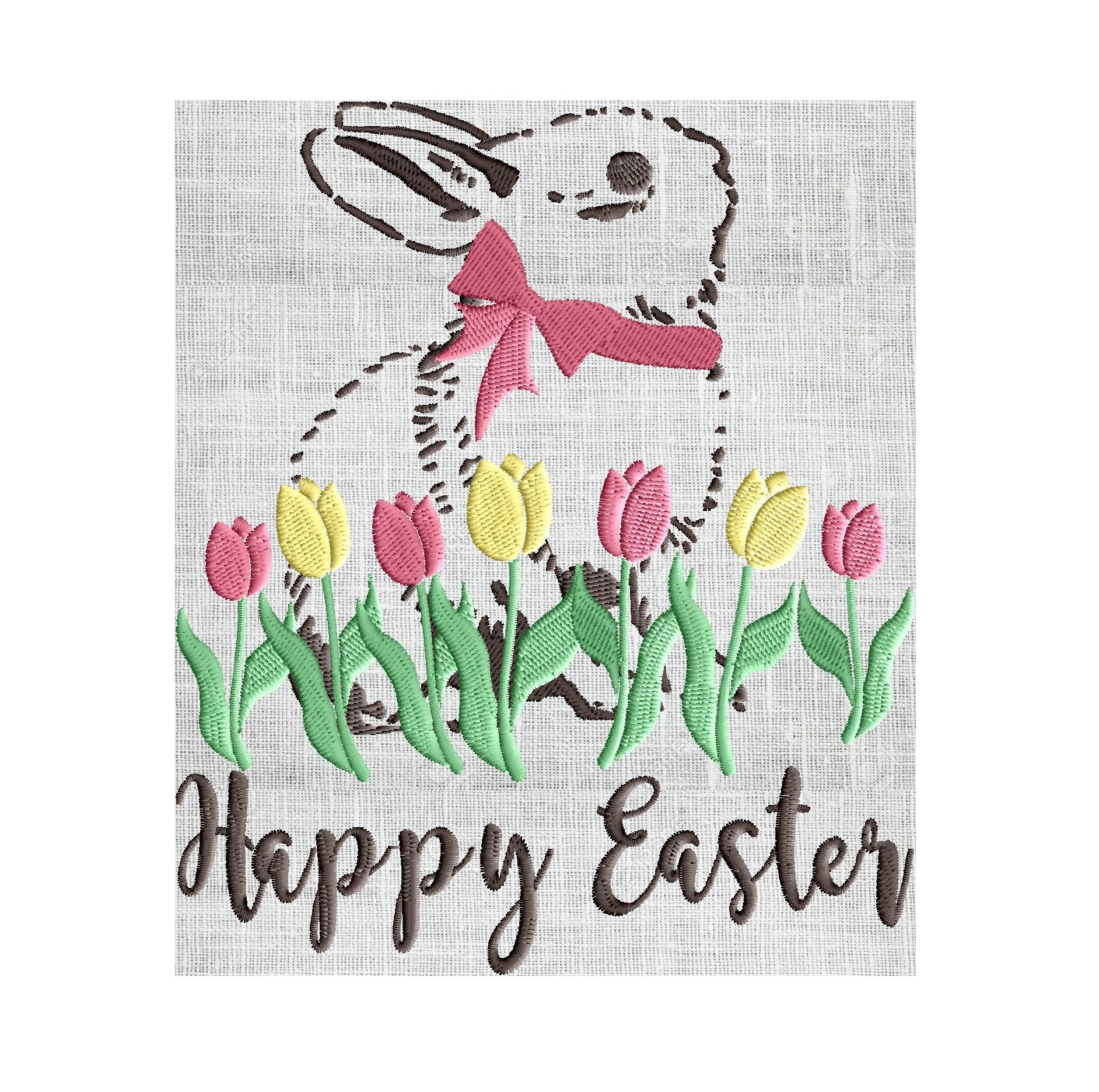 Bunny - Happy Easter w Bunny and Tulips - Embroidery Design Embroidery DESIGN FILE Instant download 2 sizes and 4 colors - Hus Dst Jef Pes Exp Vp3