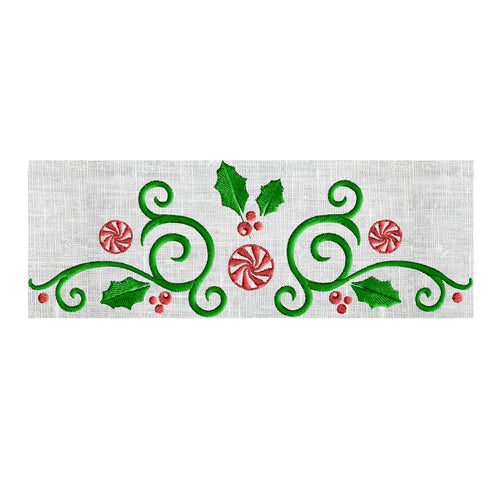 Christmas Candy Scroll Border Frame Monogram Embroidery Design EMBROIDERY DESIGN FILE - Instant download - Hus Vp3 Dst Exp Jef Pes - 2 sizes