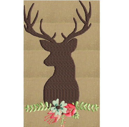 Deer with Flowers - EMBROIDERY DESIGN - Instant download animals