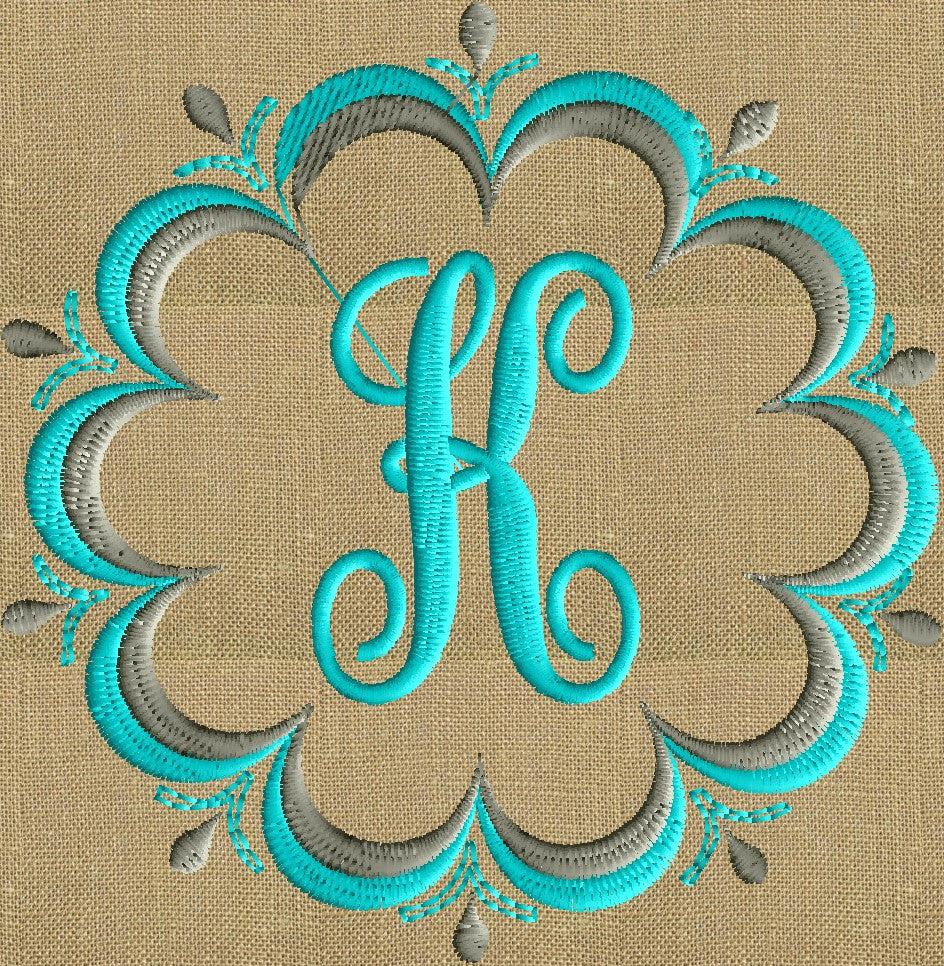 Double Scalloped Font Frame Monogram Embroidery Design Font not included - 2 sizes - Instant download Hus Dst Exp Vp3 Jef Pes