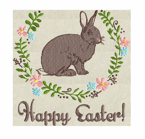Happy Easter w Bunny and wreath - Embroidery Design Embroidery DESIGN FILE Instant download 2 sizes and 6 colors - Hus Dst Jef Pes Exp Vp3