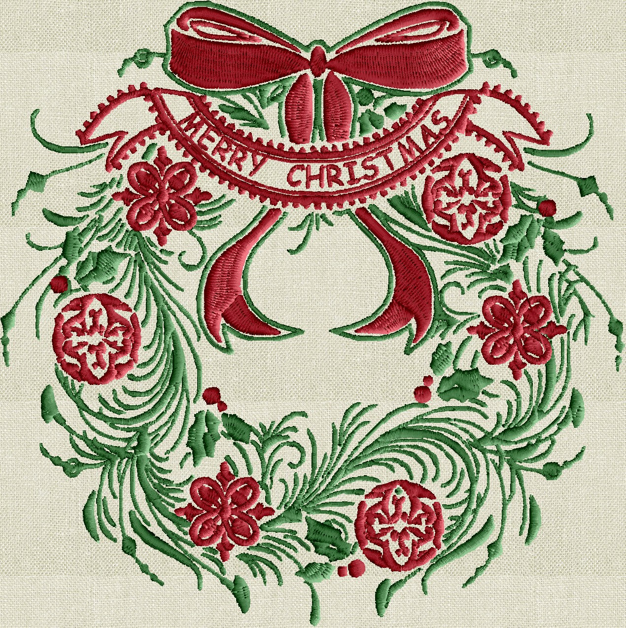 Feather Wreath Bow Merry Christmas Embroidery Design File