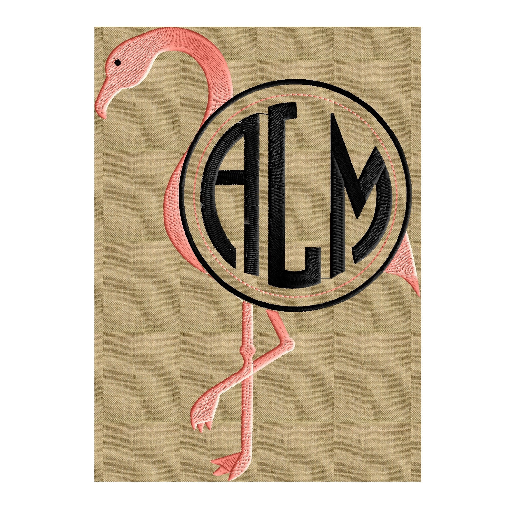 Flamingo Font Frame Monogram Embroidery Design - Font not included - Instant download - Hus Dst Exp Vp3 Jef Pes formats