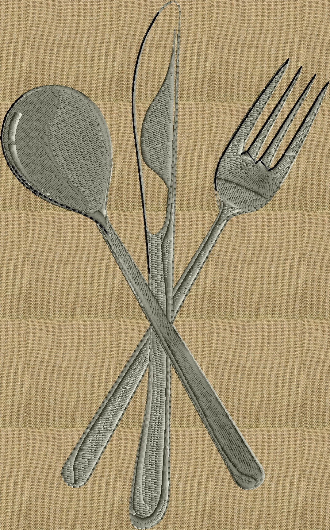 Flatware Fork Knife Spoon - EMBROIDERY DESIGN FILE - fun stuff