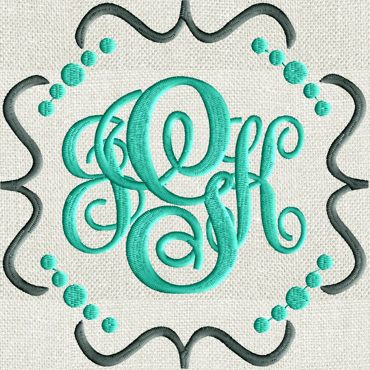 Fun Squiggle Dots Scroll Font Frame Monogram Design -Font not included - EMBROIDERY DESIGN FILE - Instant download - Hus Dst Exp Jef Pes
