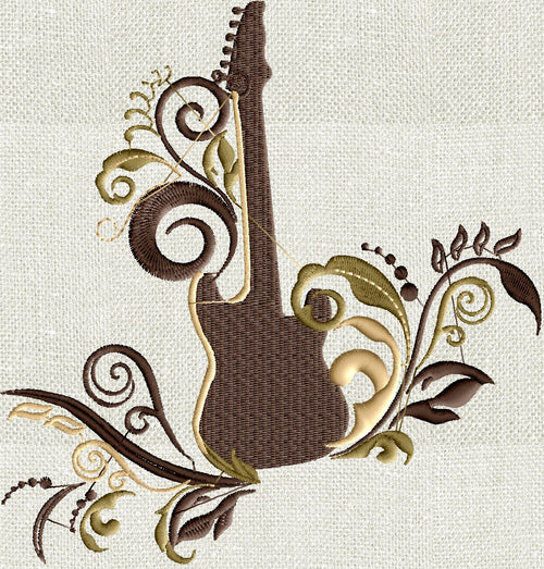Guitar Scrolls Embroidery Design