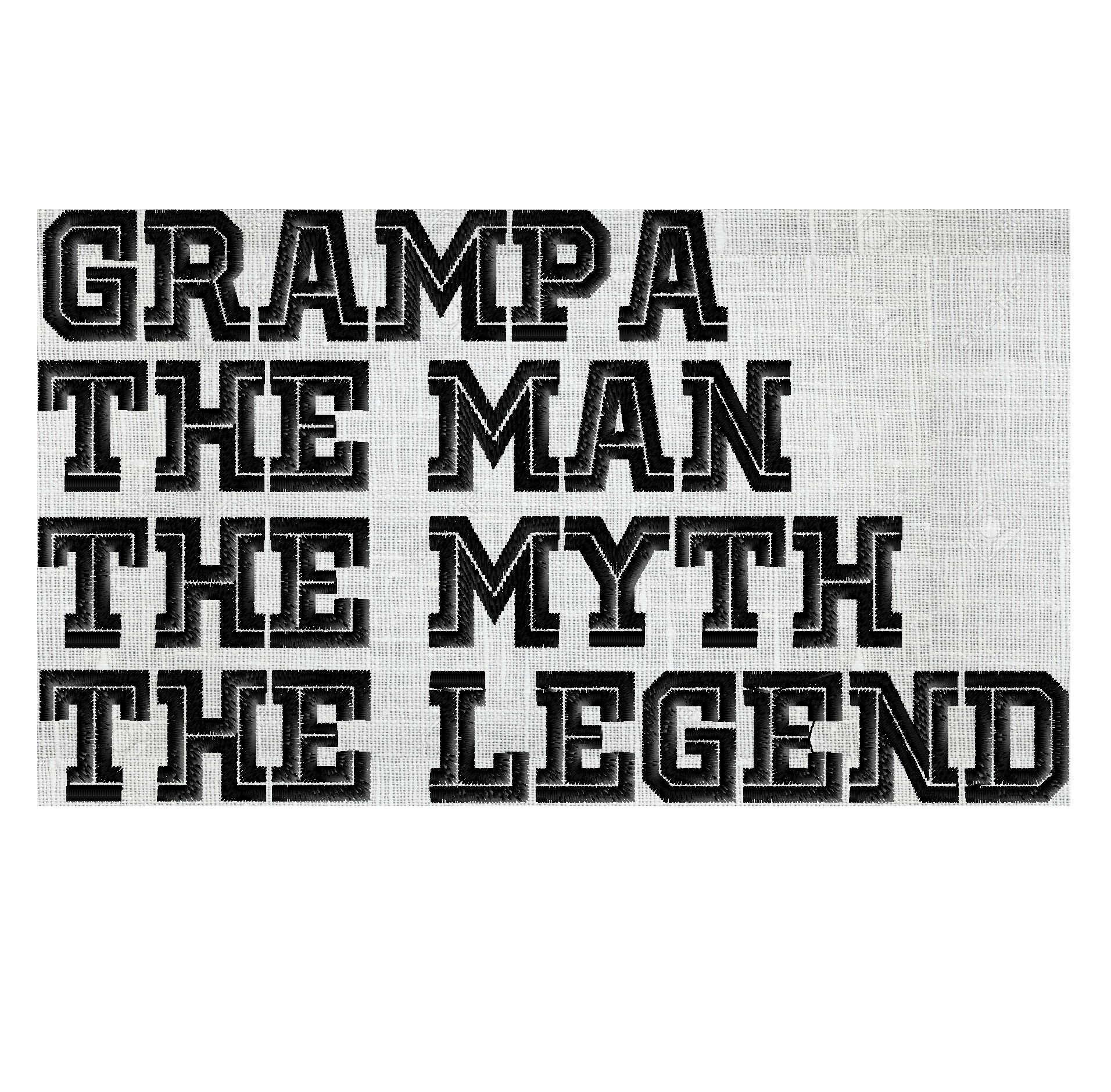 Grampa Man Myth Legend - barbecue apron quote - EMBROIDERY DESIGN ...