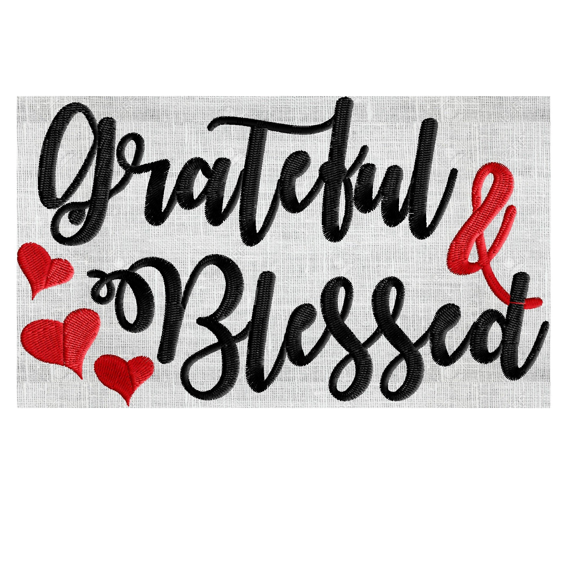 Grateful and Blessed quote - EMBROIDERY DESIGN FILE- Instant download - Exp  Hus Jef Vp3 Pes Dst formats in 2 sizes