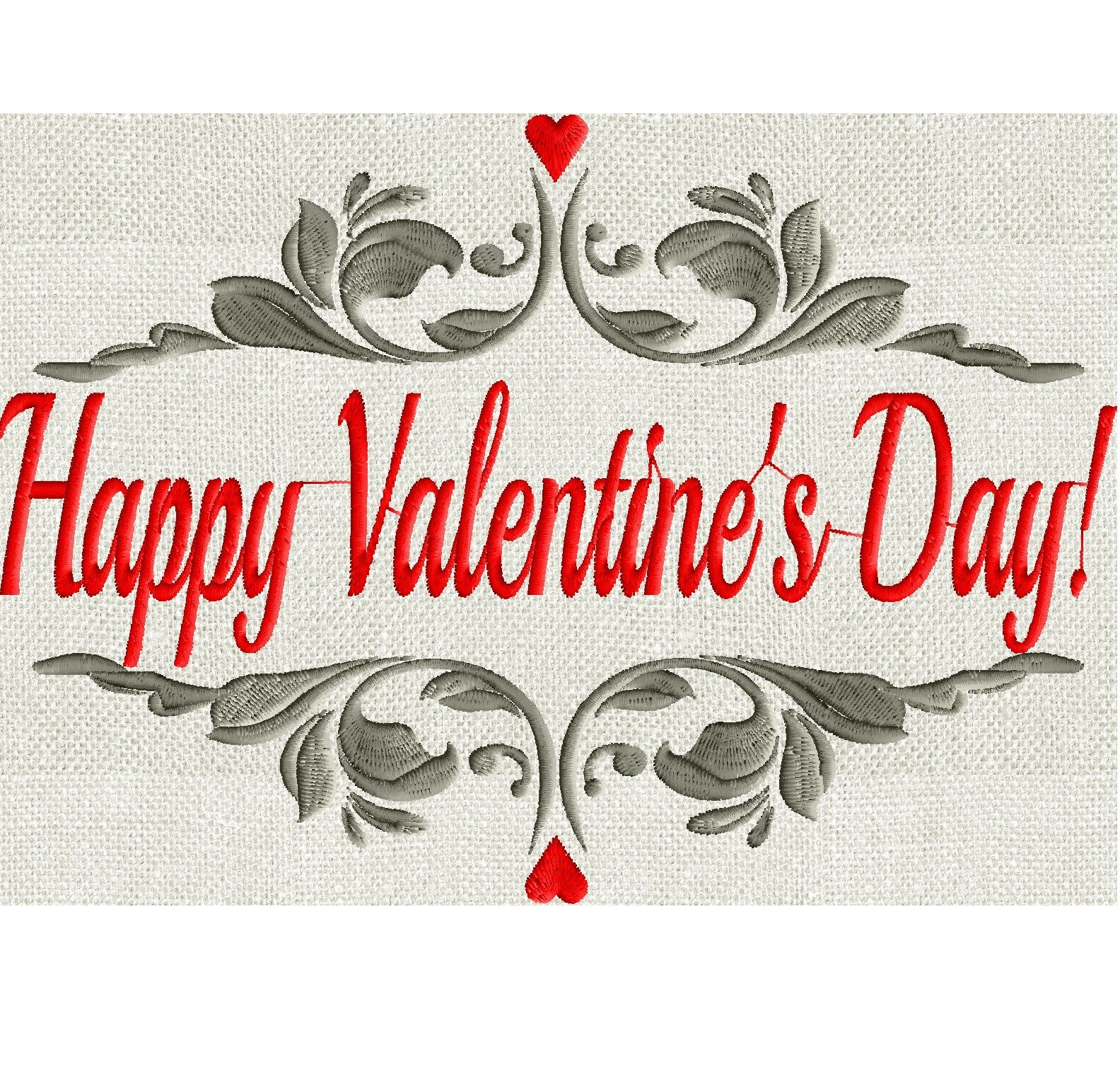 Happy Valentines Day Embroidery Design File Instant Download