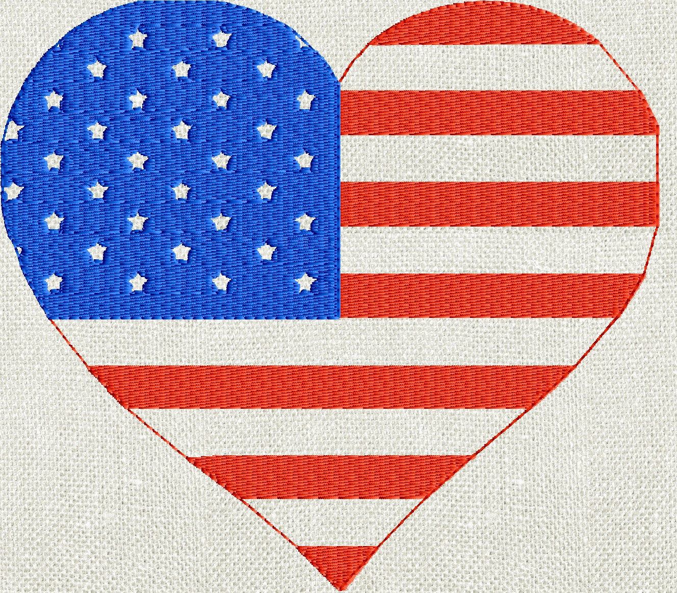 Heart American Flag Patriotic - Memorial Day - 4th of July Welcome home - Embroidery DESIGN FILE