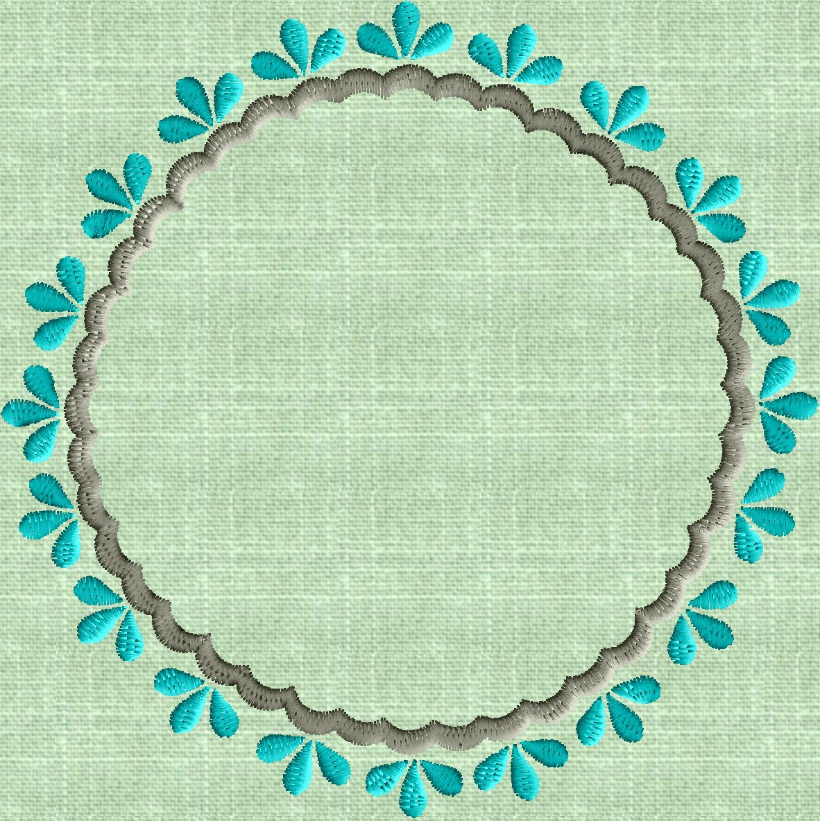 Hollys Round Font Frame Monogram Embroidery Design - Font not included - in 2 sizes - Instant download - Hus Dst Exp Vp3 Jef Pes formats
