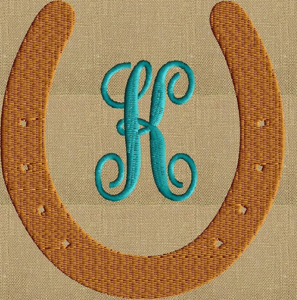 Horseshoe Font Frame Monogram Embroidery Design Font Not Included E Stitchelf