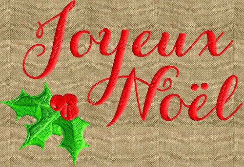 Joyeux Noel Christmas quote EMBROIDERY DESIGN FILE - Instant download - Dst Hus Jef Pes formats