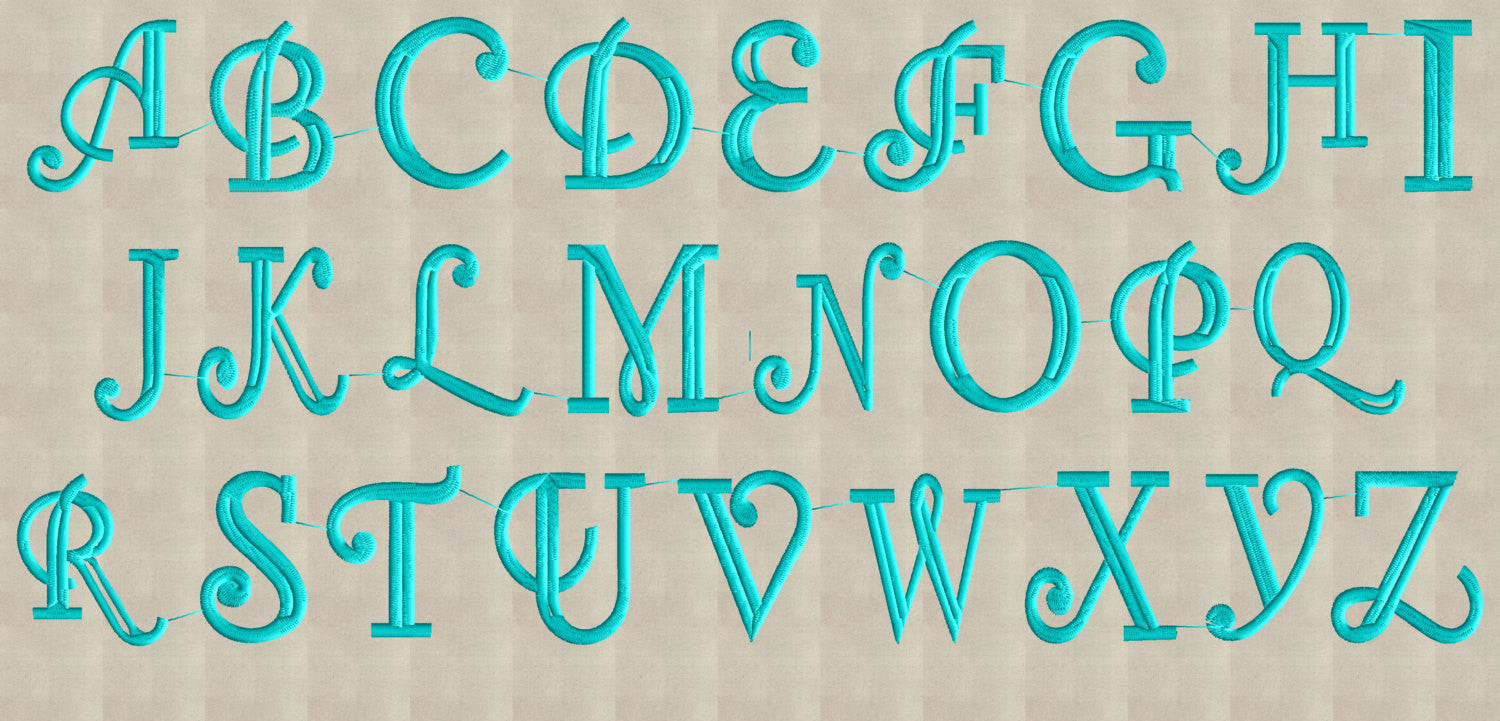 Royce monogram font embroidery file letters sizes