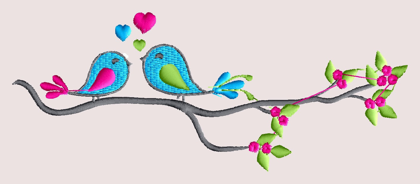 Lovebirds flowers branch spring Design - Valentines day Heart and love - EMBROIDERY DESIGN FILE - Instant download - Dst Hus Jef Pes formats