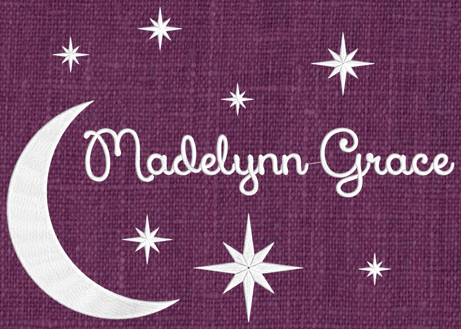 Moon & Stars Font Frame Monogram Embroidery Design - Font not included - EMBROIDERY DESIGN FILE - Instant download - Dst Hus Jef Pes formats